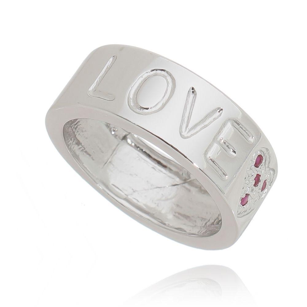 Anel Love Coração Cravejado Ródio Branco