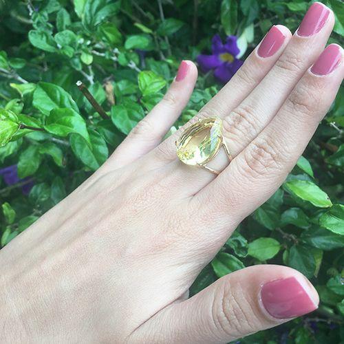 Anel Pedra de Vidro Gota Ouro 18K