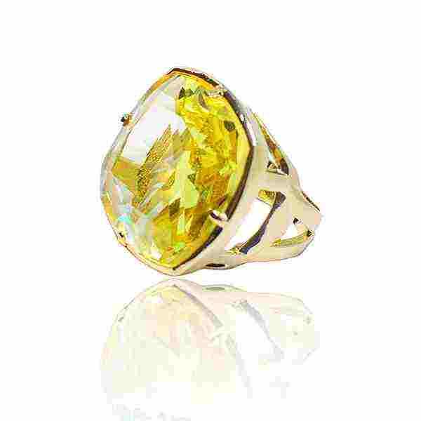 Anel Pedra de Vidro Maxi Ouro 18K