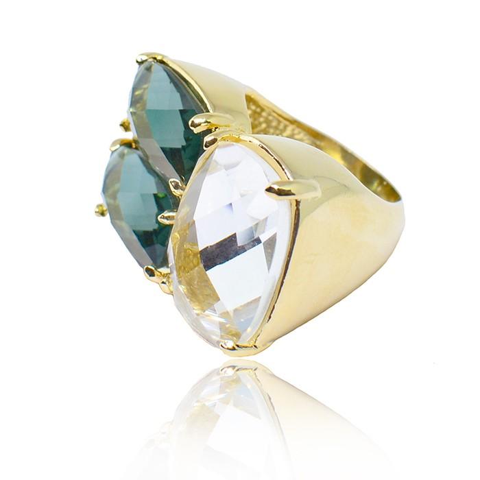 Anel Pedra Tripla de Vidro Ouro 18K
