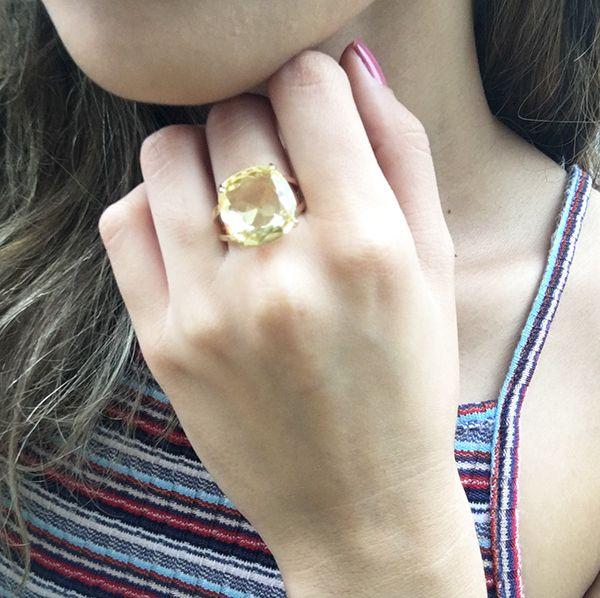 Anel Pedra  de Vidro Quadrada Ouro 18K