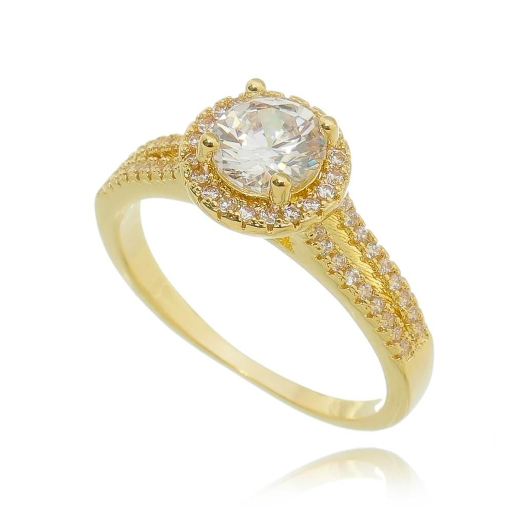 Anel Pedra e Zircônias Ouro 18K