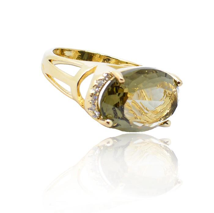 Anel Pedra de  Vidro com Zircônia Ouro 18K