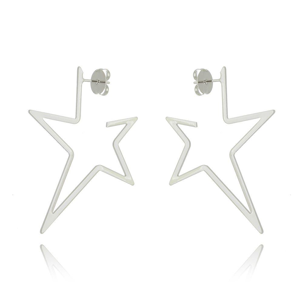 Argola Estrela Ródio Branco