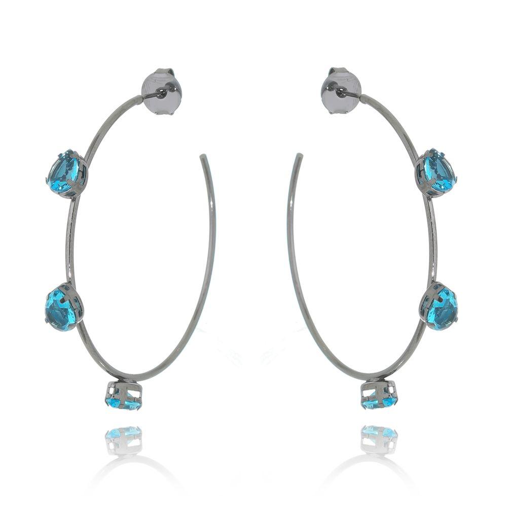Argola Luxo Pedra Cristal Translúcido Azul Oceano Ródio Negro