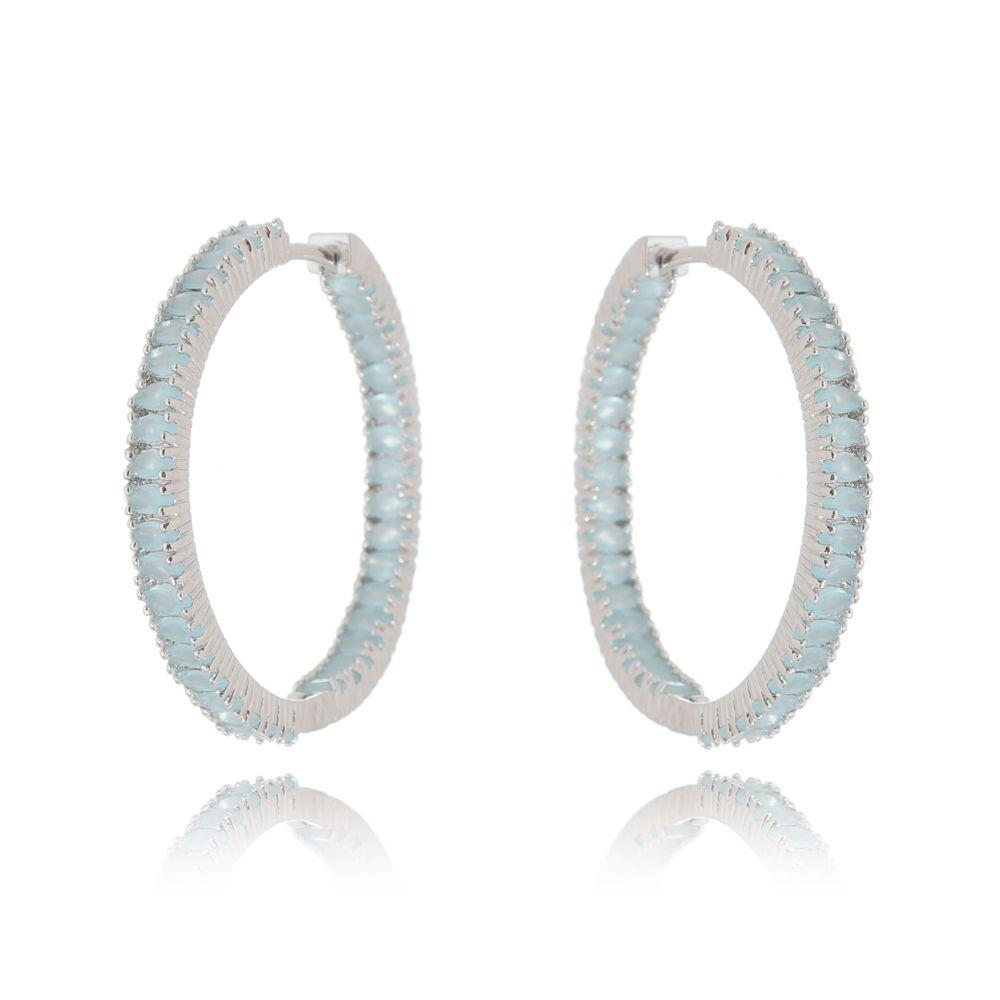 Argola Luxo Pedras Cristal Azul Leitoso Ródio Branco
