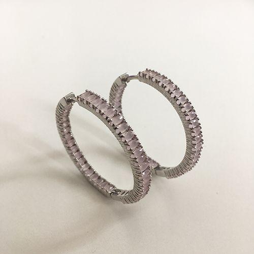 Brinco de Argola Luxo Pedras Cristal Rosa Leitoso Ródio Branco