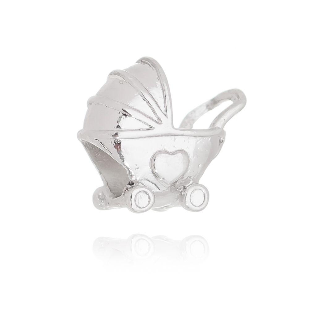 Berloque Passante Carrinho de Bebê Folheado em Ródio Branco