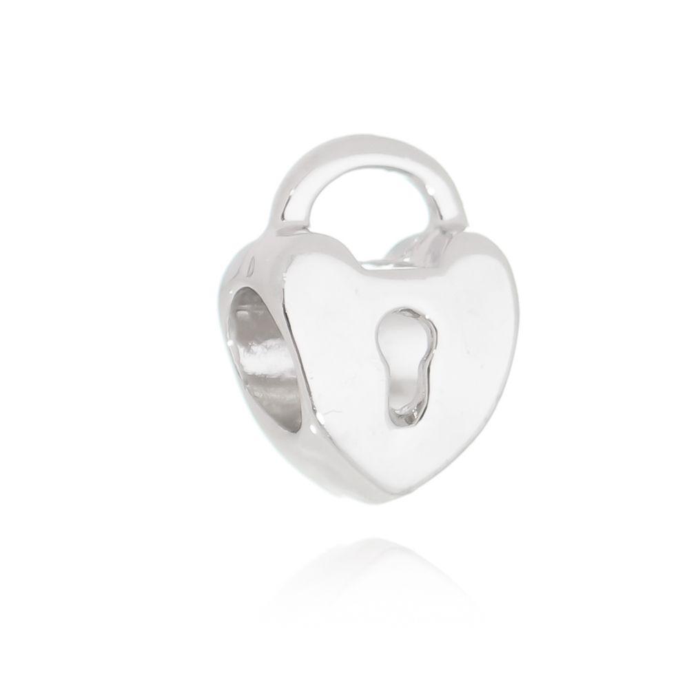 Berloque Passante Coração Cadeado Folheado em Rodio Branco