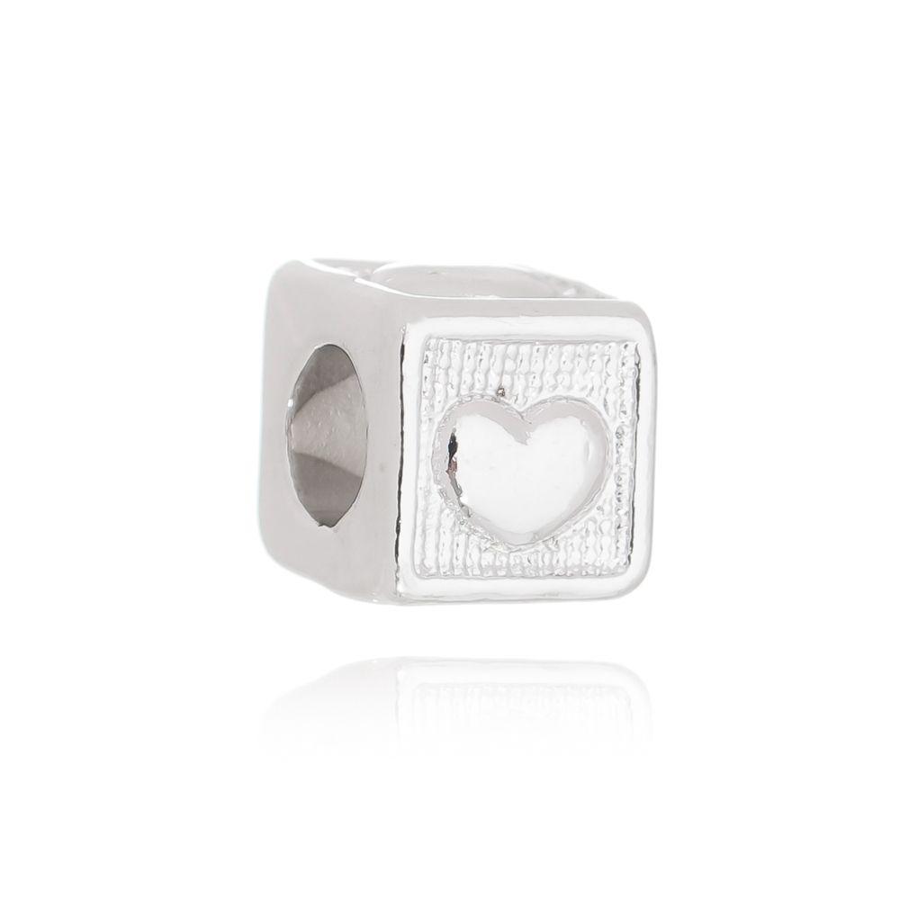 Berloque Passante Coração Cubo Folheado em Rodio Branco
