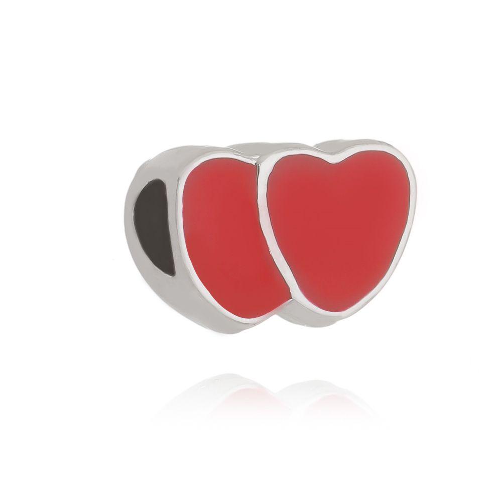 Berloque Passante Coração  Folheado em Rodio Branco