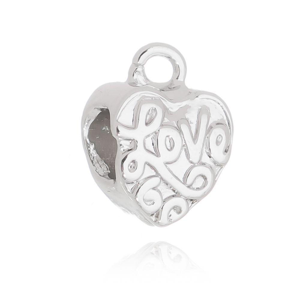 Berloque Passante Coração Love Folheado em Rodio Branco