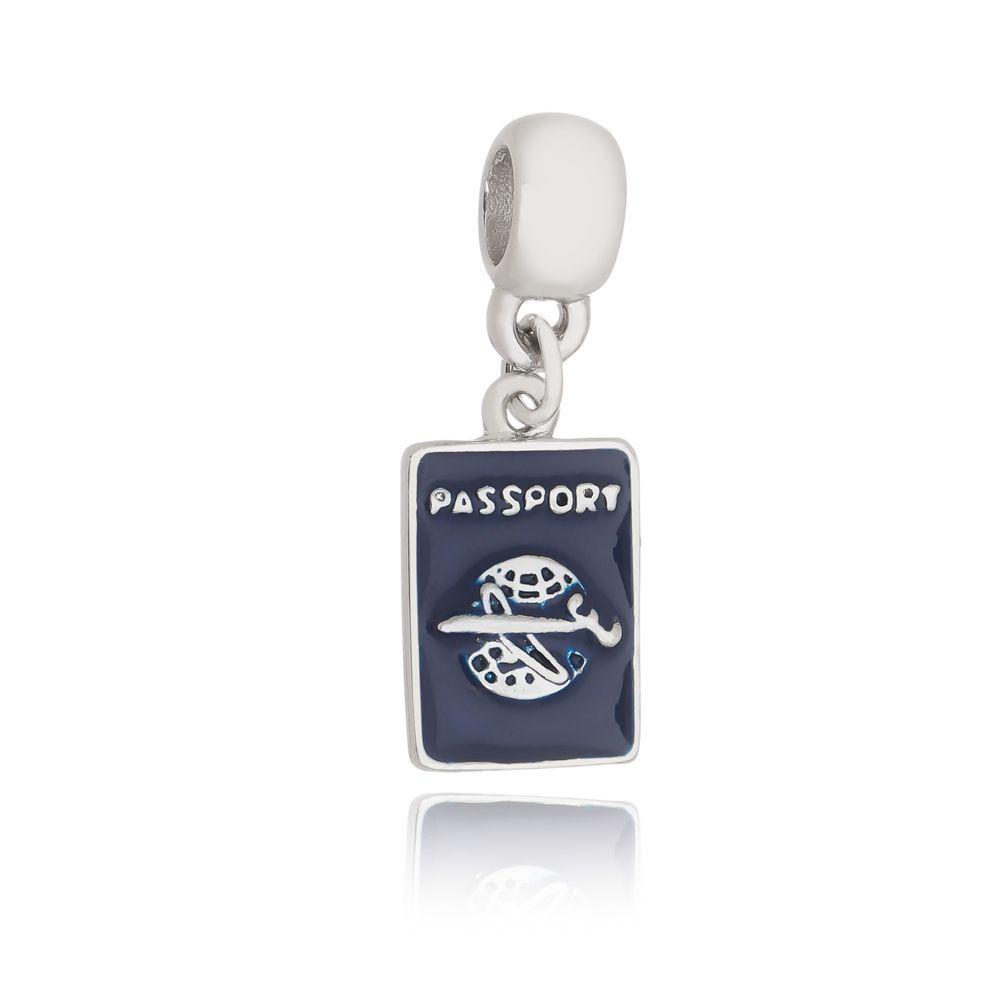 Berloque Pingente Passaporte folheado em Ródio Branco