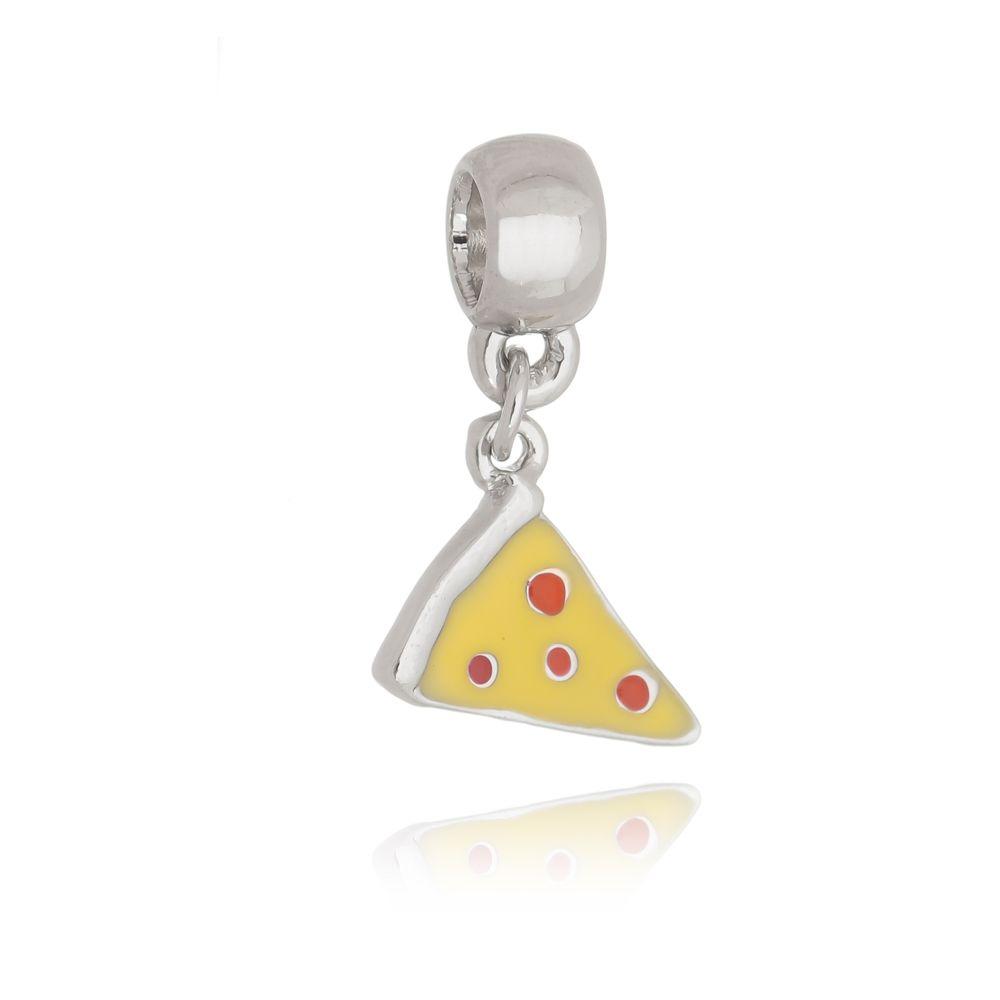 Berloque Pingente Pizza Folheado em Ródio Branco