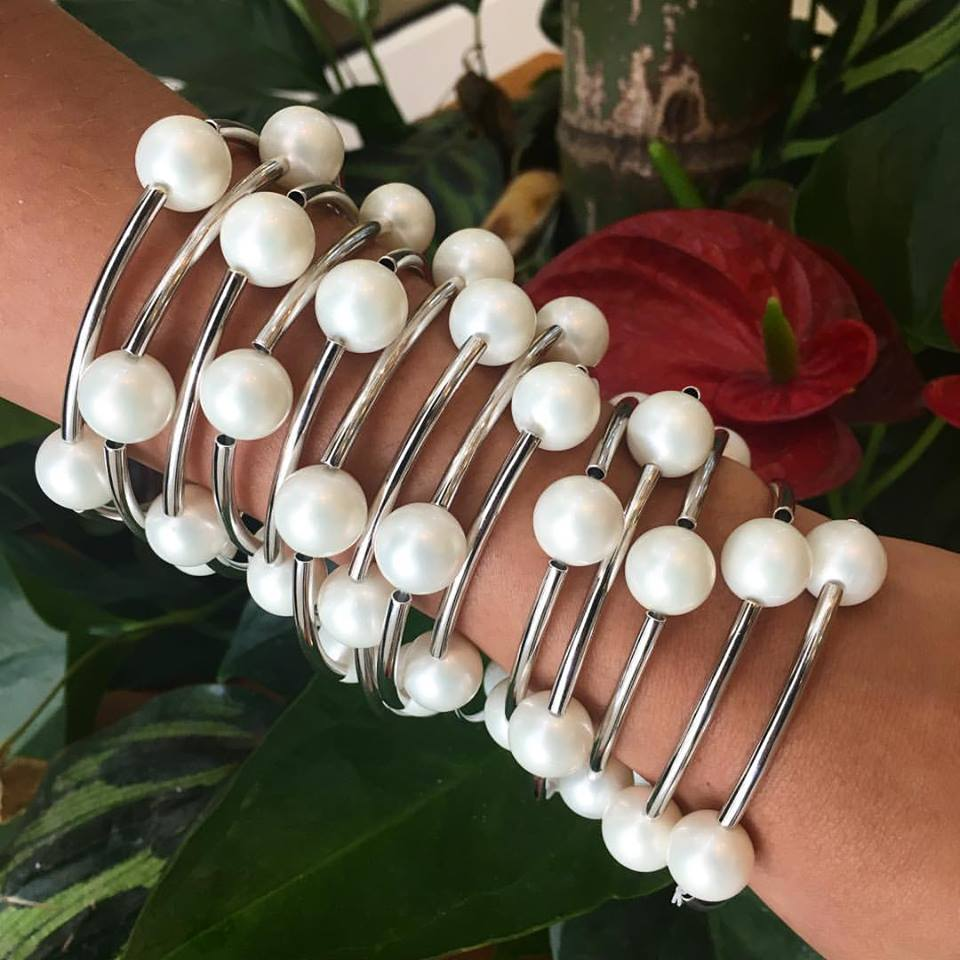 Bracelete Articulado Pérola Shell Ródio Branco