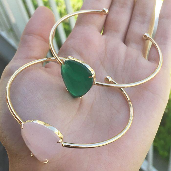 Bracelete Gota Cristal Ouro 18 K