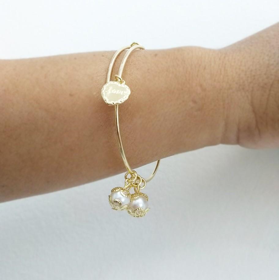 Bracelete Pingentes Pérolas Ouro 18K