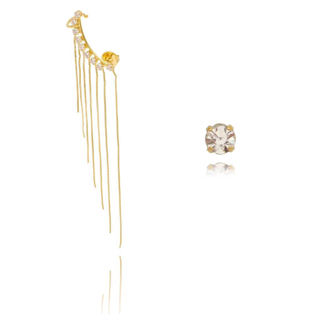Brinco Ear Cuff Franja Luxo Folheado em Ouro 18K