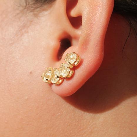 Brinco Ear Cuff Pedra Gota Folheado em Ouro 18 K