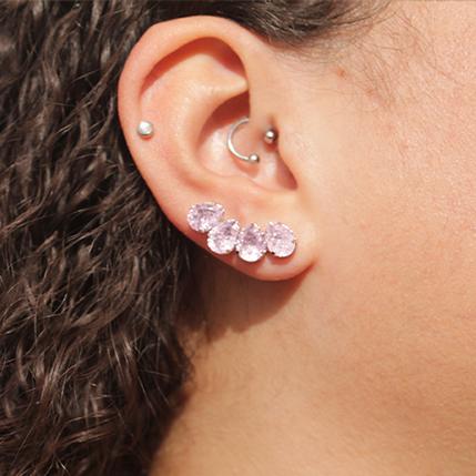 Brinco Ear Cuff Pedra Gota Folheado em Ródio Branco