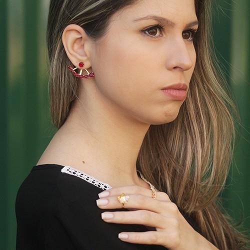 Brinco Ear Jacket Cristal Ouro 18K