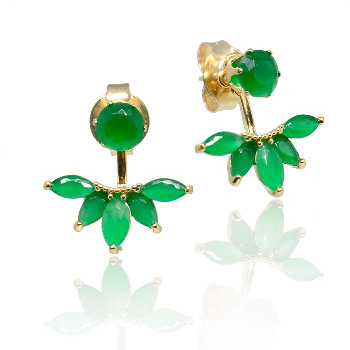Brinco Ear Jacket Cristal Verde Ouro 18K
