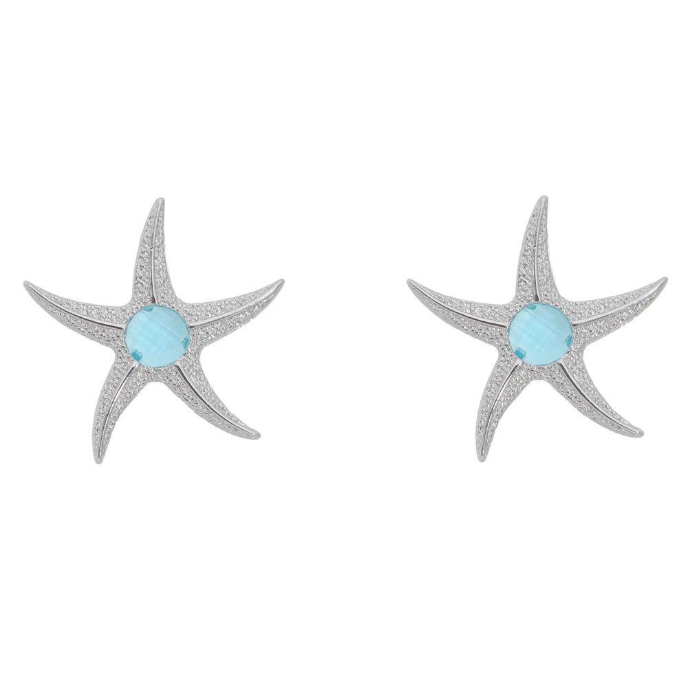 Brinco Estrela do Mar Cristal Folheado em Ródio Branco