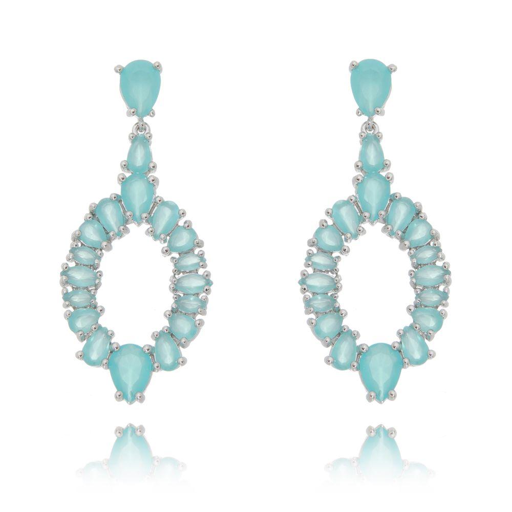 Brinco Luxo Cristal Leitoso Azul Ródio Branco