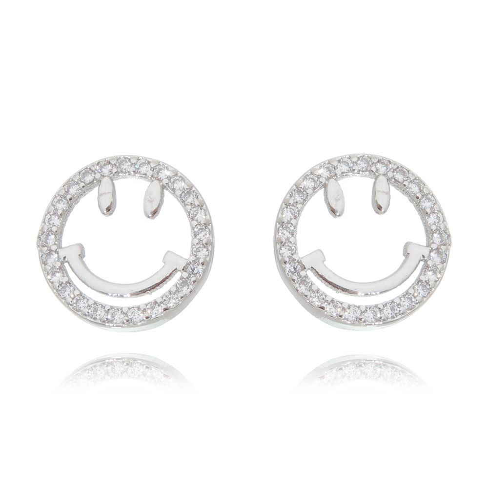 Brinco Luxo Smile com Zircônias Ródio Branco