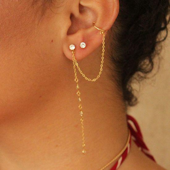 Brinco Piercing Ear Cuff 2 Correntes com Zircônia Folheado em Ouro 18K