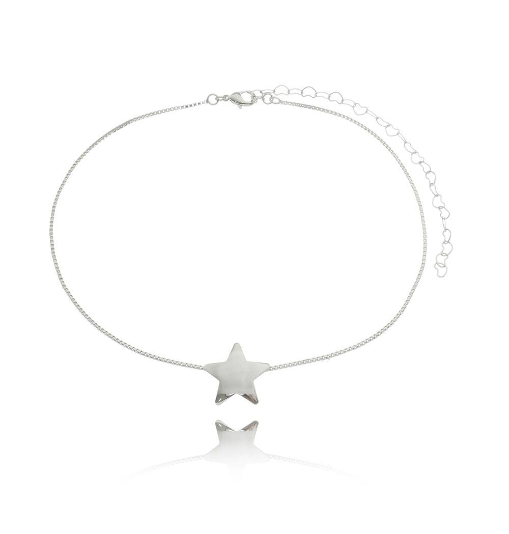 Choker Estrela Ródio Branco
