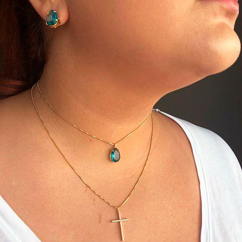 Colar Duplo Luxo Pedra Translúcida Azul e Cruz Zircônias Ouro 18K