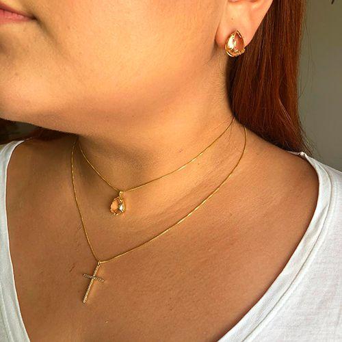 Colar Duplo Luxo Pedra Translúcida Pêssego e Cruz Zircônias Ouro 18K