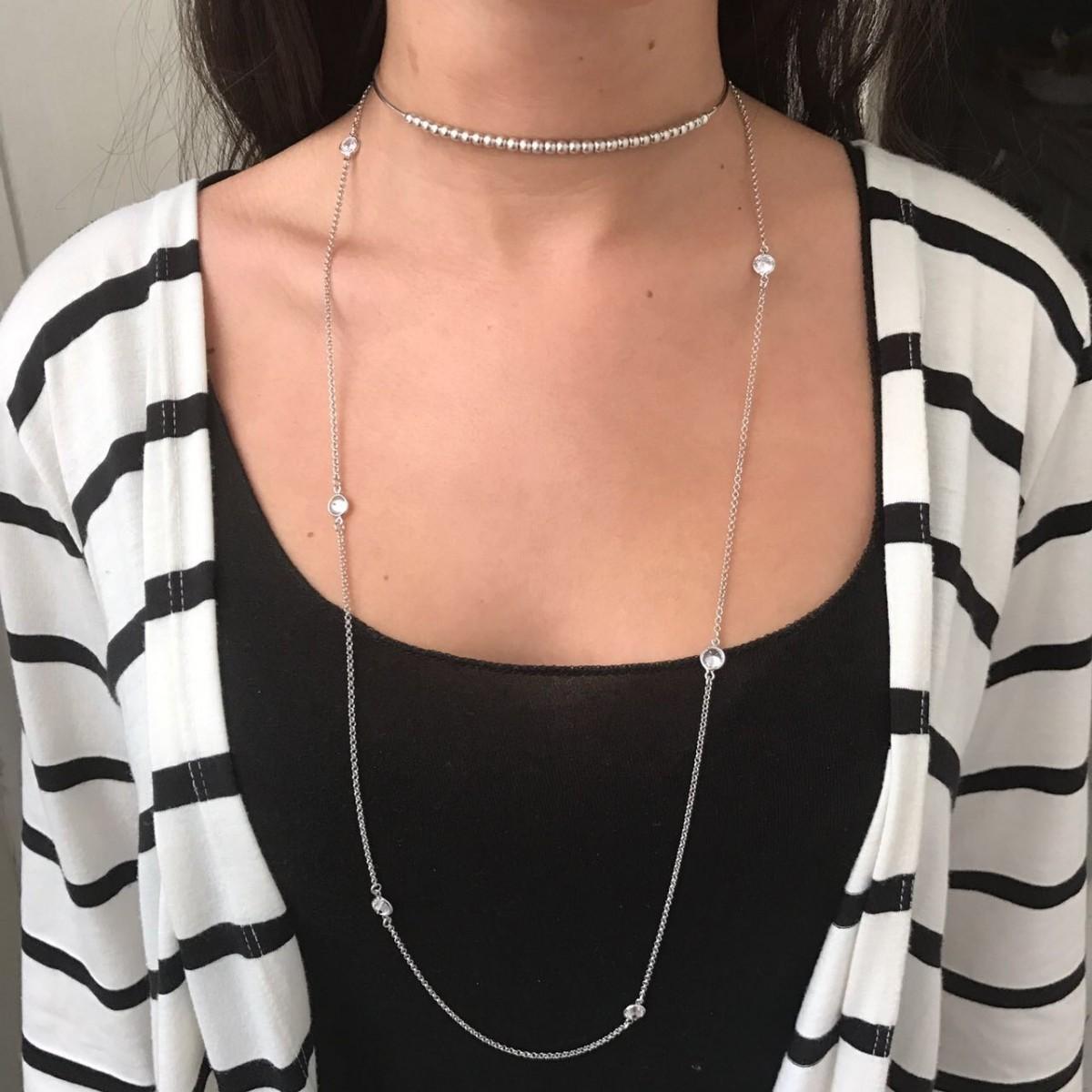 Colar Tiffany Zircônias Ródio Branco