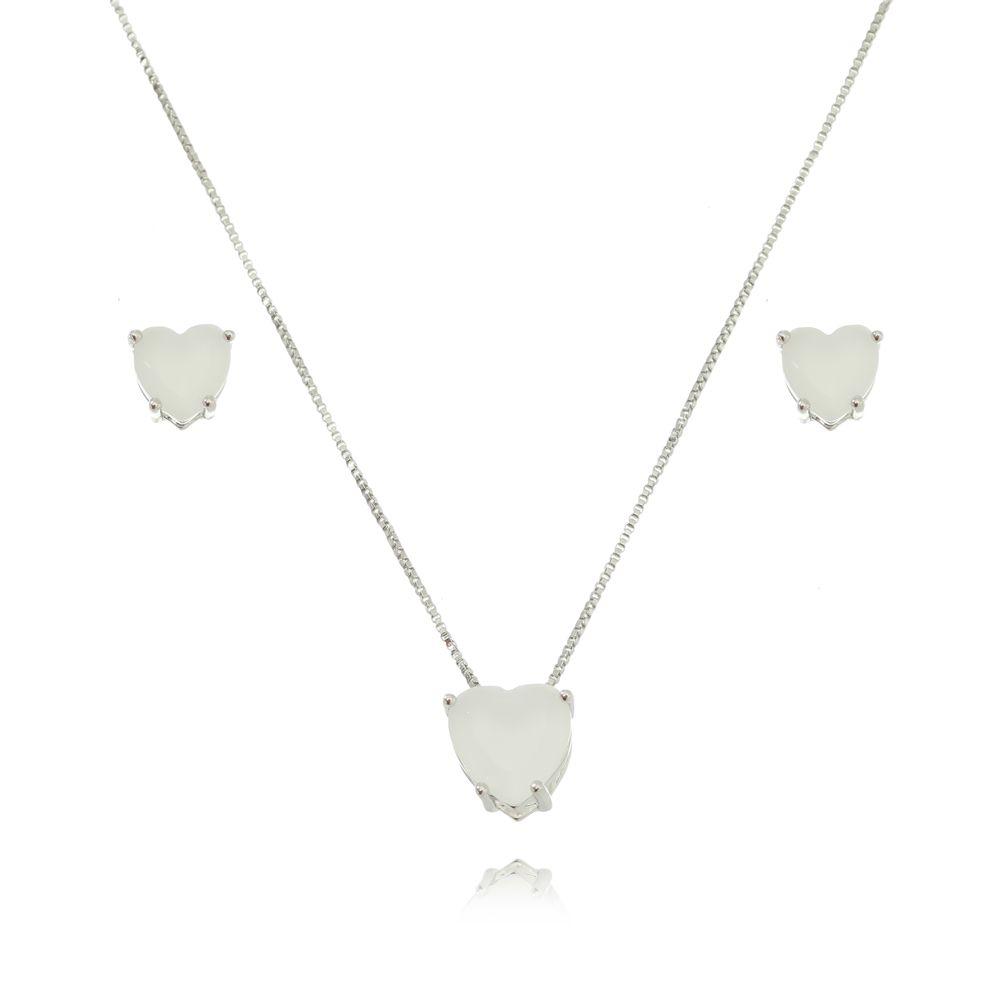 Conjunto Coração Pequeno Cristal Ródio Branco