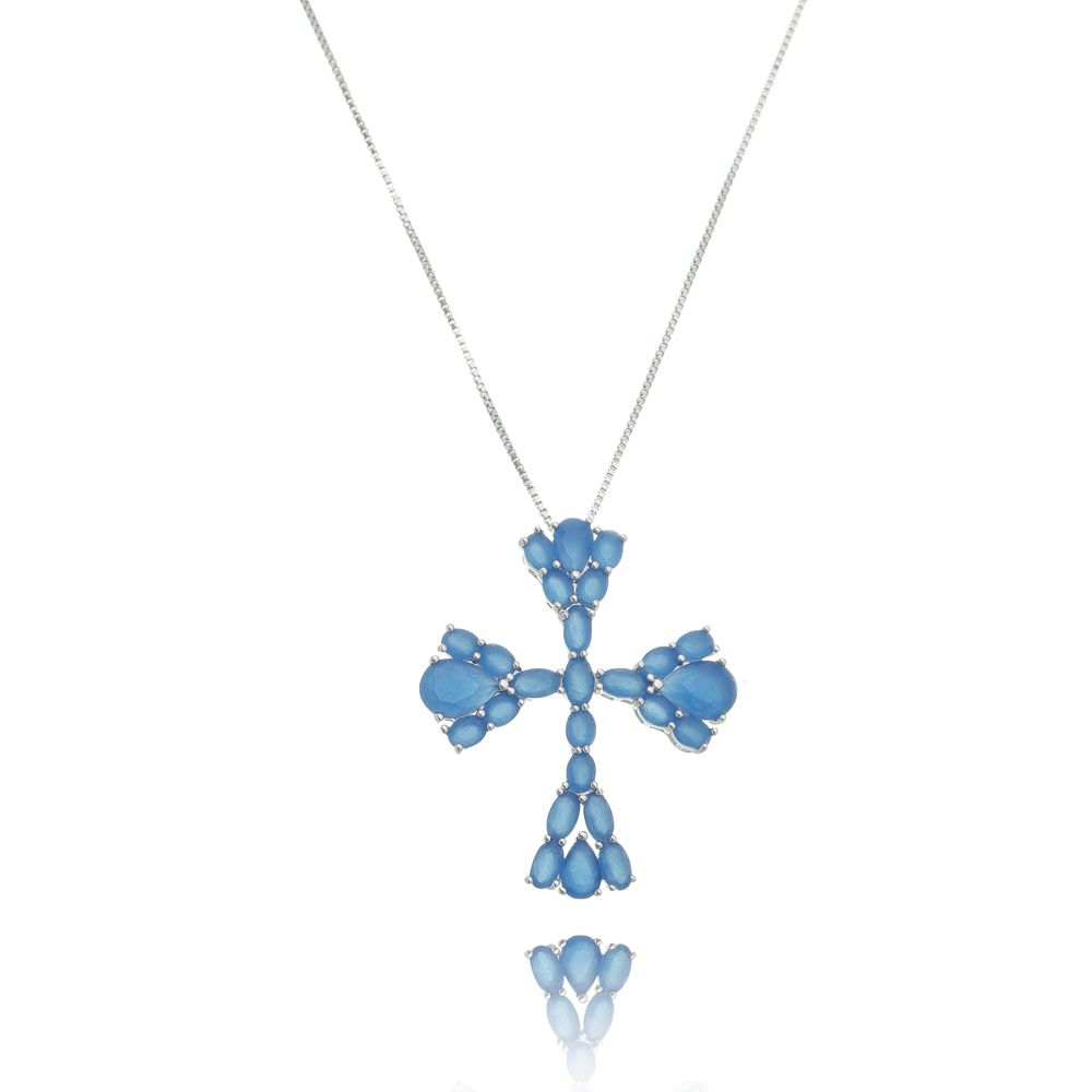 Gargantilha Cruz Azul Luxo Ródio Branco