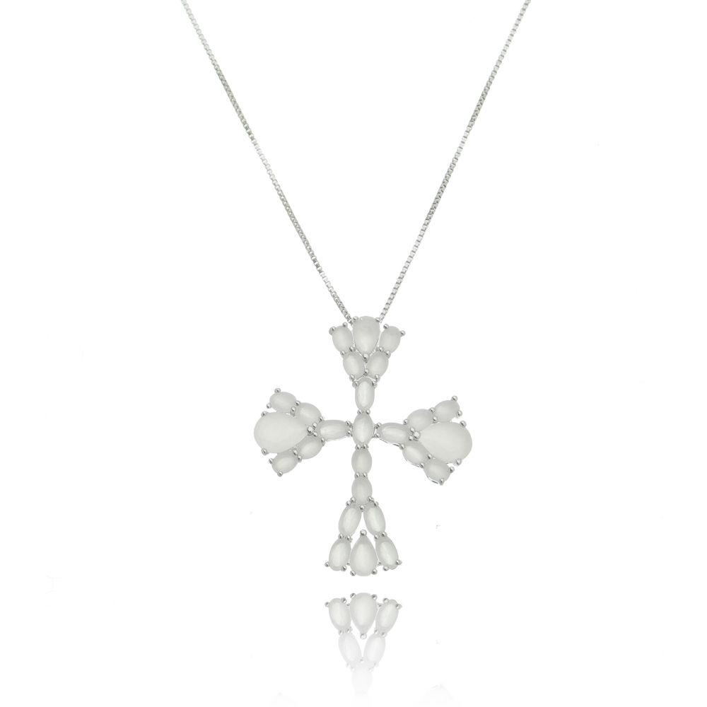 Gargantilha Cruz Branca Luxo Ródio Branco