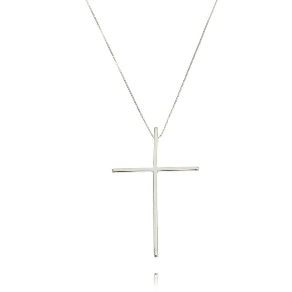 Gargantilha Cruz Ródio Branco
