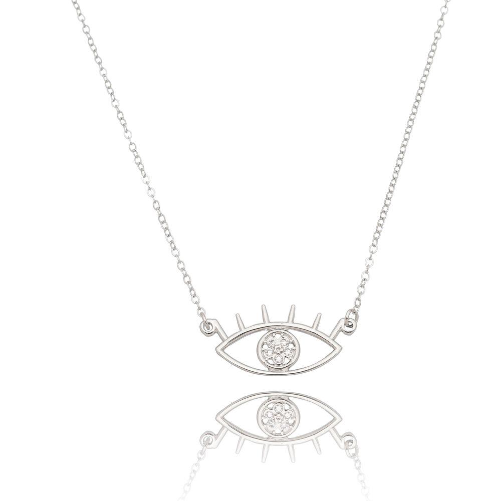 Gargantilha Olho Grego com Zircônia Folheado em Ródio Branco