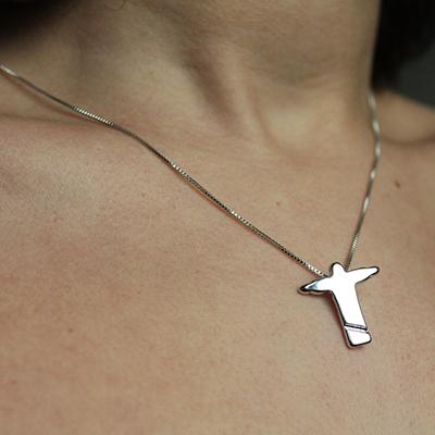 Gargantilha Pingente Cristo Redentor Folheado em Ródio Branco