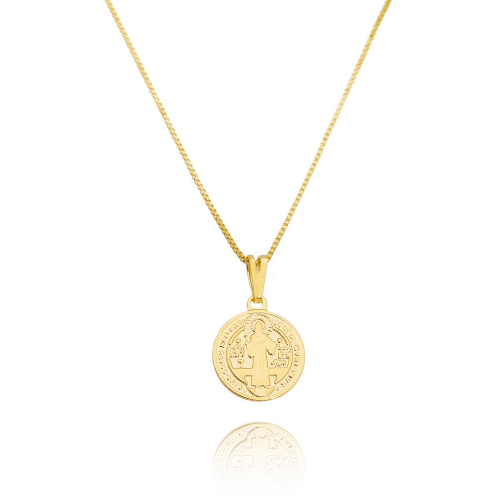 Gargantilha Pingente Medalha São Bento Ouro 18k