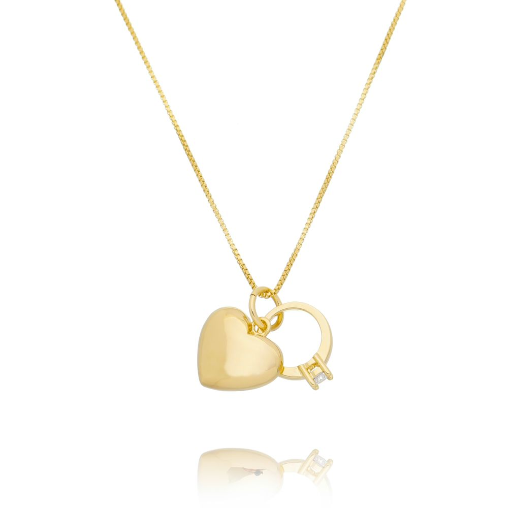 Gargantilha Pingentes Coração e Anel Ouro 18K