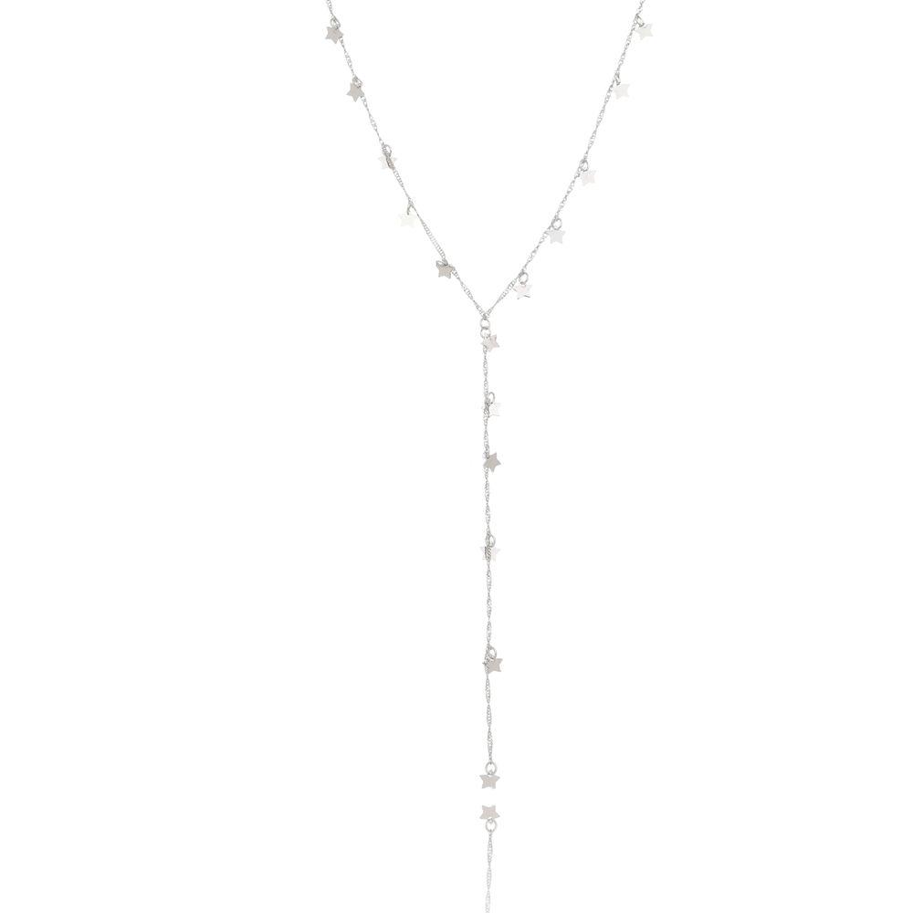 Gravatinha Estrela Folheada em Ródio Branco