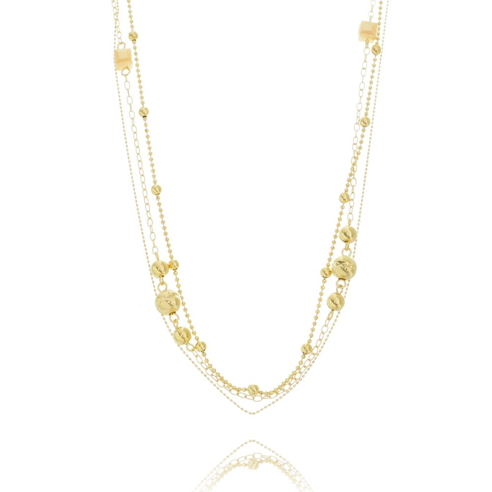 Mix de colares Cristal Ouro 18K