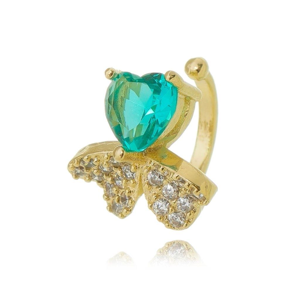 Piercing de Pressão Borboleta Cristal e Zircônias Ouro 18K