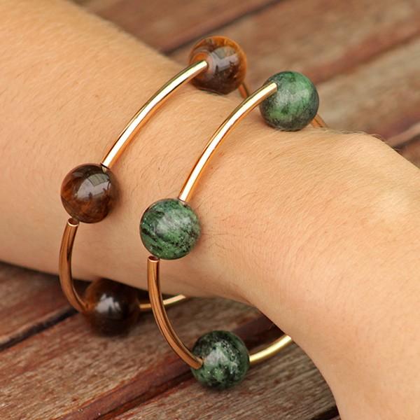 Bracelete Articulado Pedra Natural Ouro 18K