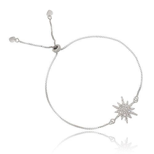 Pulseira Estrela Cadente Com Mini Zircônias Regulável Folheada em Ródio Branco