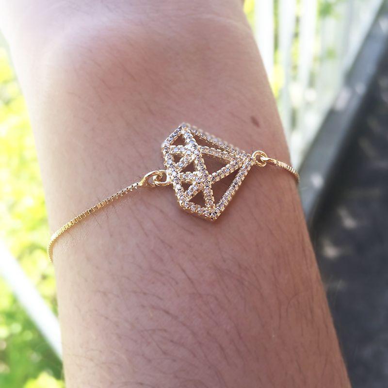 Pulseira Pingente Diamante Cravado de Zircônias Ouro 18K