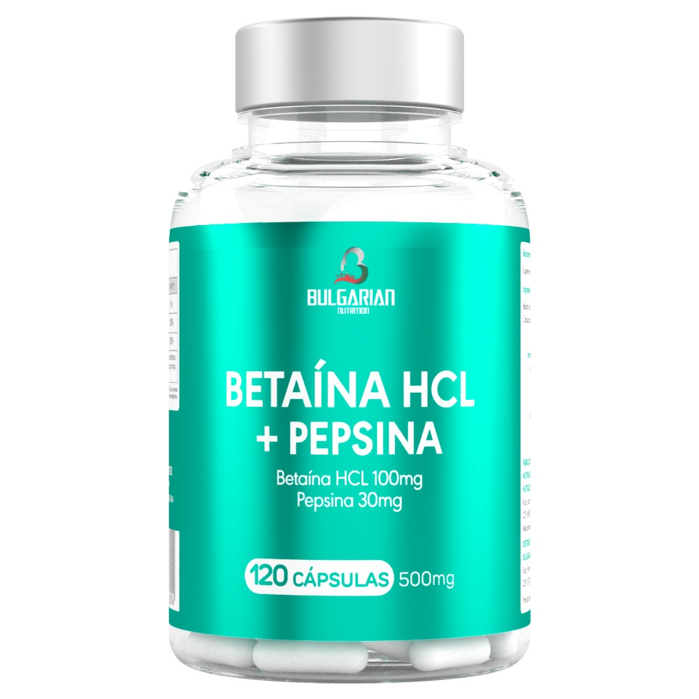 Betaína HCL + Pepsina 120 Cápsulas 500mg - Bulgarian