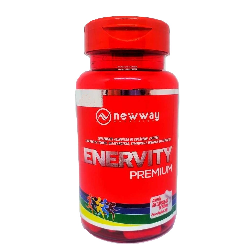 Colágeno, Selênio e Licopeno de Tomate Enervity 60 Cápsulas 500mg - New Way